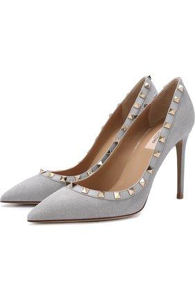 Замшевые туфли Valentino Garavani Rockstud на шпильке   Фото №1