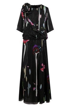 Женское шелковое платье с круглым вырезом и принтом GIORGIO ARMANI разноцветного цвета, арт. WAA74T/WA717 | Фото 1 (Материал внешний: Шелк; Статус проверки: Проверено, Проверена категория; Рукава: 3/4, Короткие; Случай: Вечерний; Длина Ж (юбки, платья, шорты): Макси)