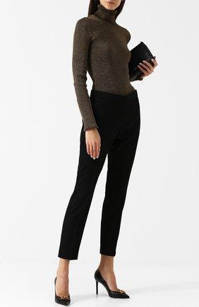 Кожаные туфли Tribute на шпильке Versace черные | Фото №1