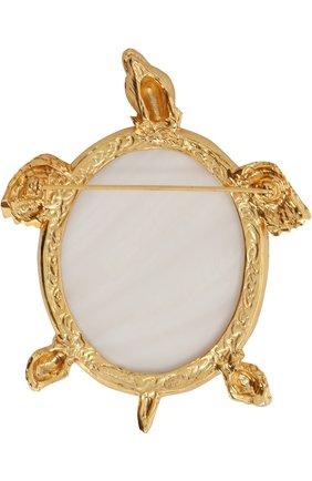 Фигурная брошь с отделкой кристаллами Swarovski Oscar de la Renta золотая | Фото №1