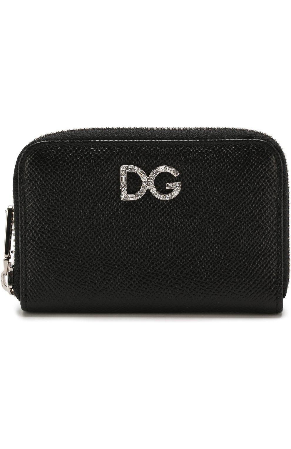 Кожаный кошелек на молнии с тиснением Dauphine Dolce & Gabbana черного цвета | Фото №1