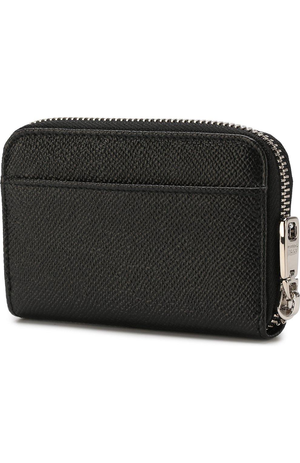 Кожаный кошелек на молнии с тиснением Dauphine Dolce & Gabbana черного цвета | Фото №2