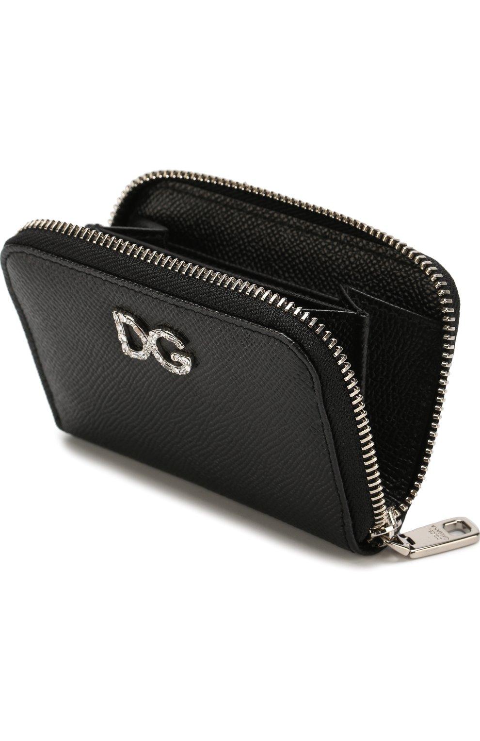 Кожаный кошелек на молнии с тиснением Dauphine Dolce & Gabbana черного цвета | Фото №3