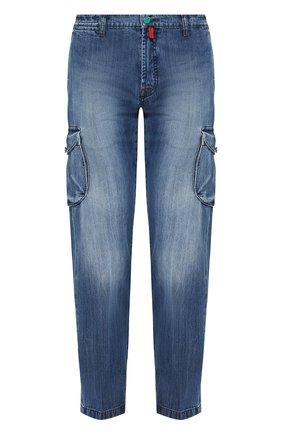 Джинсы прямого кроя с накладными карманами | Фото №1