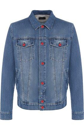 Джинсовая куртка на пуговицах Kiton голубая | Фото №1