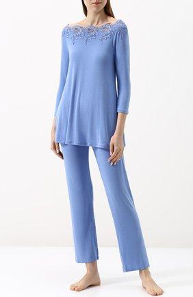 Однотонная пижама с кружевными вставками | Фото №1