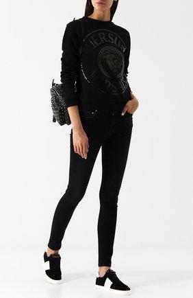 Джинсы-скинни с потертостями Versus Versace черные   Фото №1