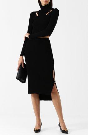 Однотонная юбка-миди асимметричного кроя с разрезами Versus Versace черная   Фото №1