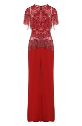 Приталенное платье-макси с разрезом и отделкой из бисера | Фото №1
