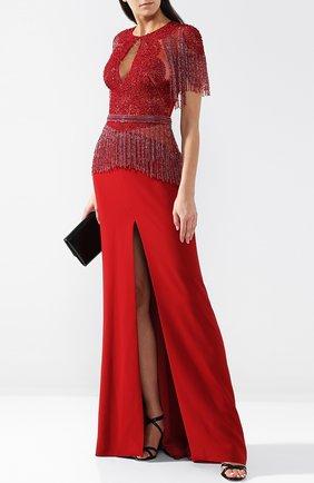Приталенное платье-макси с разрезом и отделкой из бисера Zuhair Murad красное | Фото №1
