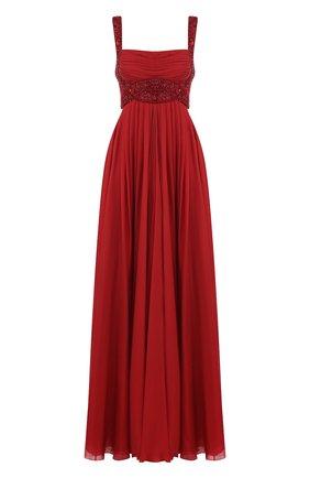 Шелковое платье-макси с отделкой из бисера Zuhair Murad красное | Фото №1