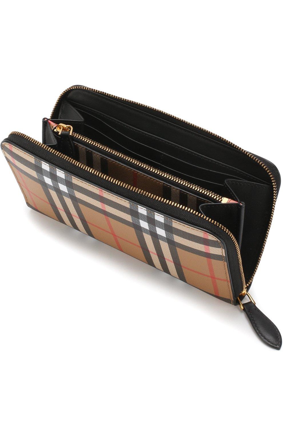Кожаный кошелек в клетку Vintage Check на молнии Burberry черного цвета | Фото №3