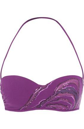 Женский однотонный бра с пайетками LA PERLA фиолетового цвета, арт. 001044D   Фото 1