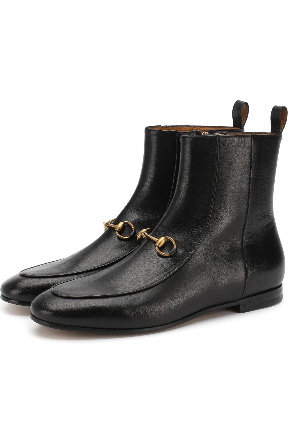 Женские кожаные ботинки jordaan с пряжкой-трензелем GUCCI черного цвета, арт. 496619/C9D00 | Фото 1
