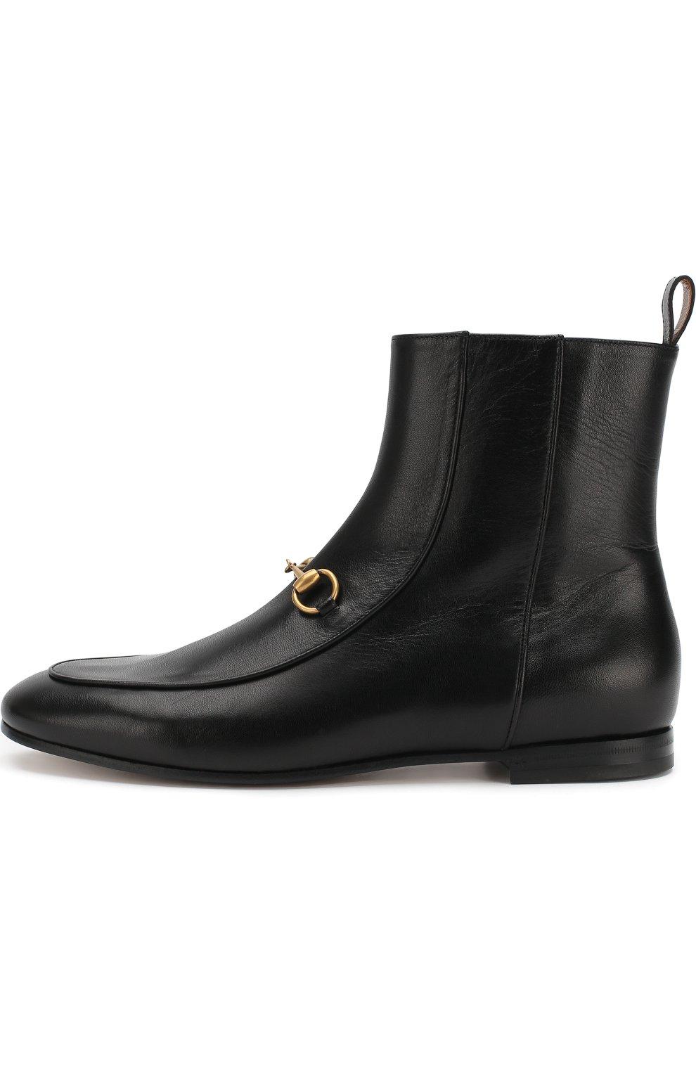 Женские кожаные ботинки jordaan с пряжкой-трензелем GUCCI черного цвета, арт. 496619/C9D00 | Фото 3
