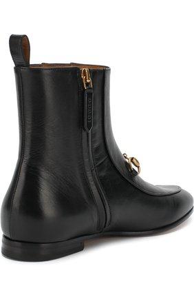 Женские кожаные ботинки jordaan с пряжкой-трензелем GUCCI черного цвета, арт. 496619/C9D00 | Фото 4