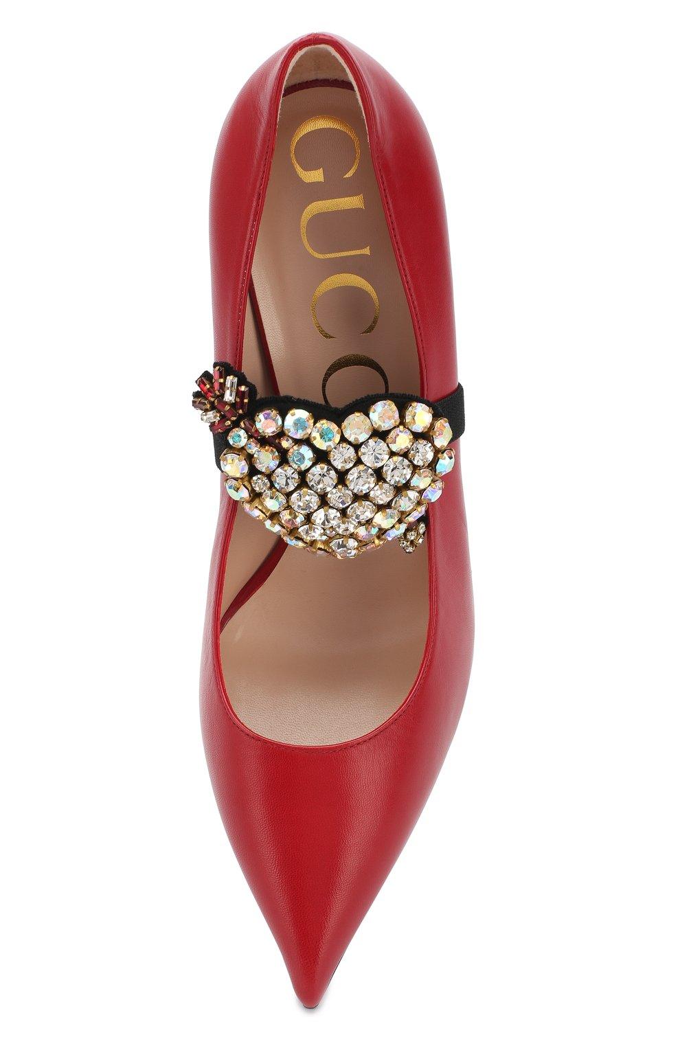 Женские кожаные туфли с брошью на шпильке GUCCI красного цвета, арт. 496593/C9D00   Фото 5