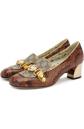 Женские туфли из кожи питона на устойчивом каблуке GUCCI коричневого цвета, арт. 498882/LU030 | Фото 1