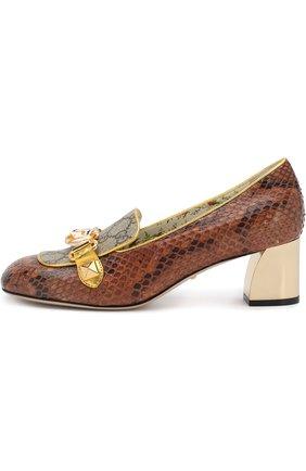 Женские туфли из кожи питона на устойчивом каблуке GUCCI коричневого цвета, арт. 498882/LU030 | Фото 3