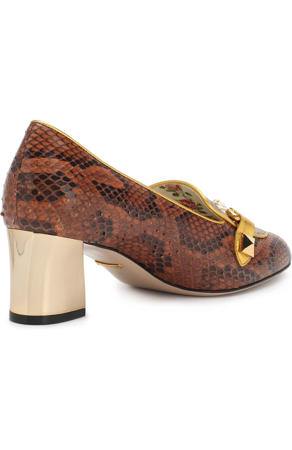 Женские туфли из кожи питона на устойчивом каблуке GUCCI коричневого цвета, арт. 498882/LU030 | Фото 4