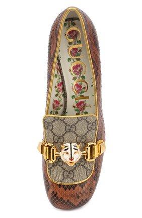 Женские туфли из кожи питона на устойчивом каблуке GUCCI коричневого цвета, арт. 498882/LU030 | Фото 5