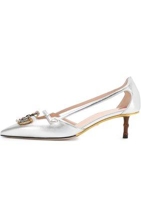 Женские туфли из металлизированной кожи на каблуке kitten heel GUCCI серебряного цвета, арт. 519918/B8B00 | Фото 3