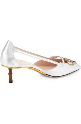 Женские туфли из металлизированной кожи на каблуке kitten heel GUCCI серебряного цвета, арт. 519918/B8B00 | Фото 4