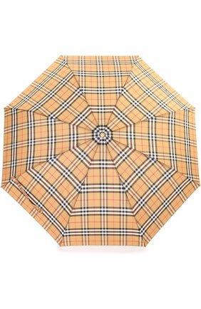 Женский складной зонт в клетку BURBERRY светло-коричневого цвета, арт. 4075286 | Фото 1