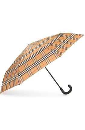Женский складной зонт в клетку BURBERRY светло-коричневого цвета, арт. 4075286 | Фото 2