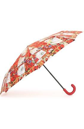 Женский складной зонт с принтом BURBERRY красного цвета, арт. 4075320 | Фото 2