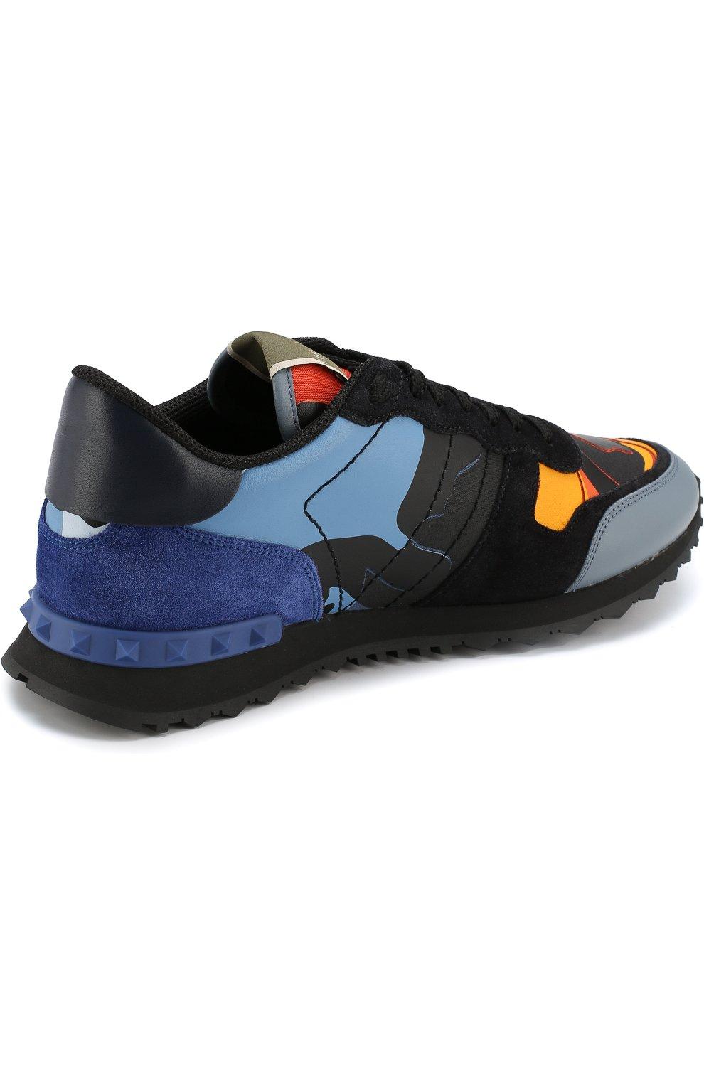 Комбинированные кроссовки Valentino Garavani Rockrunner на шнуровке   Фото  №4 5ad96d388be