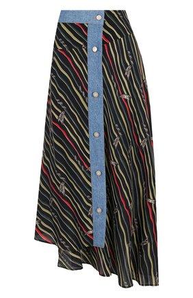Юбка-миди асимметричного кроя с принтом Loewe разноцветная | Фото №1