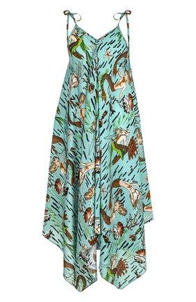 Платье-миди асимметричного кроя с принтом Loewe голубое | Фото №1