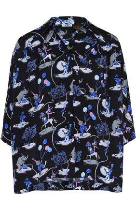 Женская блуза с укороченным рукавом и принтом Loewe, цвет черный, арт. D2289110P0 в ЦУМ | Фото №1