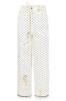 Укороченные льняные брюки с принтом Loewe черно-белые | Фото №1