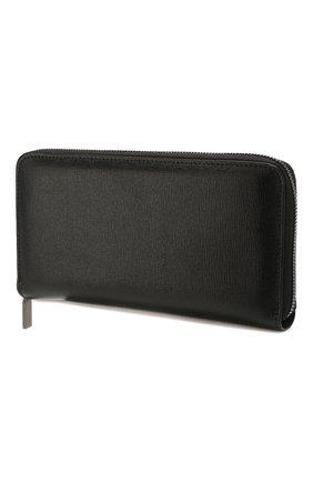 Кожаное портмоне на молнии с отделениями для кредитных карт Canali черного цвета | Фото №1