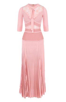 Приталенное платье-миди с плиссированной юбкой и кружевной отделкой | Фото №1
