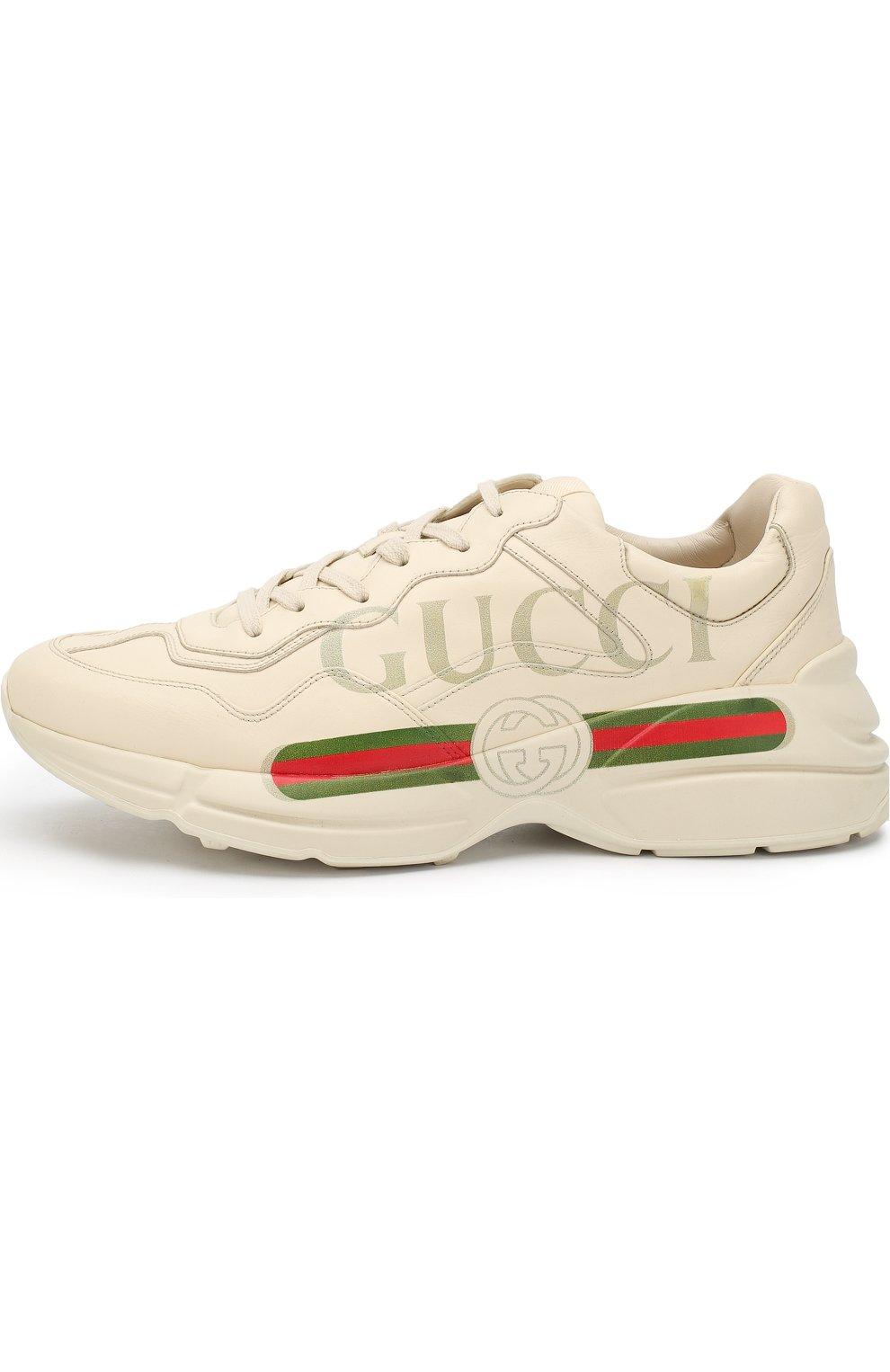 c9b1ac08 Мужские белые кожаные кроссовки rhyton на шнуровке GUCCI — купить за ...