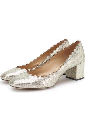 Туфли Lauren из металлизированной кожи на устойчивом каблуке | Фото №1