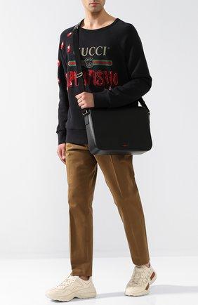 Мужская кожаный мессенджер с клапаном GUCCI черного цвета, арт. 450973/DJ23T | Фото 2