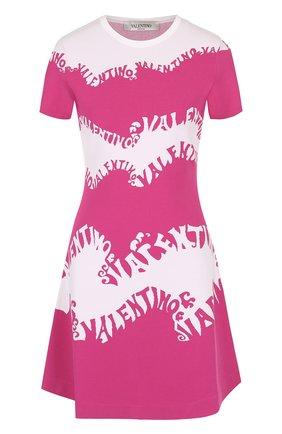 Мини-платье с круглым вырезом и логотипом бренда | Фото №1