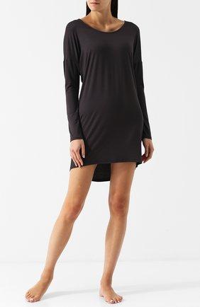 Однотонная сорочка с длинными рукавами Mey черная | Фото №1
