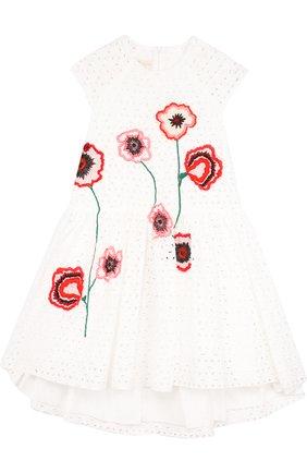 Расклешенное платье из хлопка с аппликациями и асимметричным подолом | Фото №1