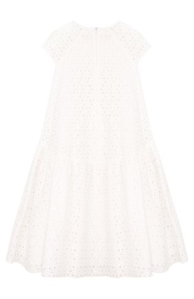Детское расклешенное платье из хлопка с аппликациями и асимметричным подолом Quis Quis белого цвета | Фото №1