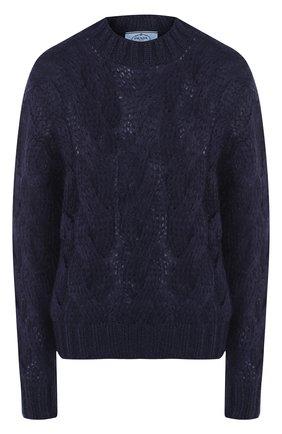 Однотонный пуловер фактурной вязки | Фото №1