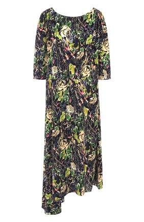 Женское шелковое платье-миди асимметричного кроя с принтом PRADA черного цвета, арт. P36S6-1RZM-F0002   Фото 1