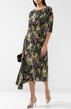 Женское шелковое платье-миди асимметричного кроя с принтом PRADA черного цвета, арт. P36S6-1RZM-F0002   Фото 2