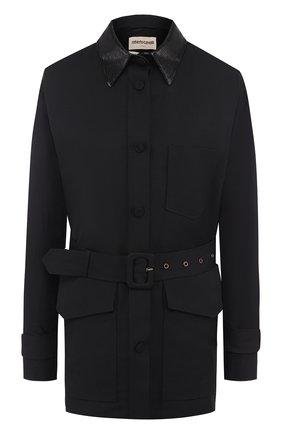 Куртка с поясом и накладными карманами | Фото №1