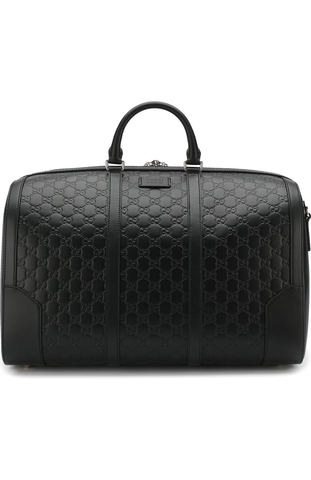 503100292c0c Мужская черная кожаная дорожная сумка с тиснением signature GUCCI ...