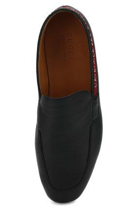 Мужские кожаные лоферы с контрастной отделкой GUCCI черного цвета, арт. 496245/BX0T0   Фото 5